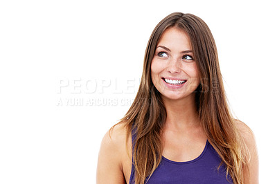 Buy stock photo Shot of a smiling woman looking up at the copyspace -Studio Shot