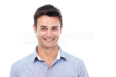 Buy stock photo Shot of a casual man against a white background