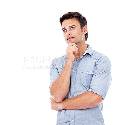 Buy stock photo Shot of a man in casual clothing looking up  -studio shot