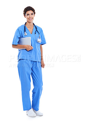 Buy stock photo Portrait of a smiling woman in scrubs holding a touchscreen against a white background