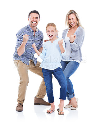 Buy stock photo Studio shot of a happy family with their hands in fists smiling at the camera against a white background