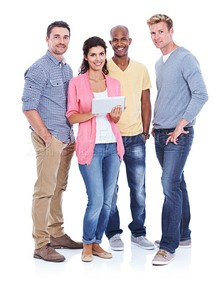 Buy stock photo Three mid adult men standing with a female coworker in front of them, showing them a digital tablet while smiling