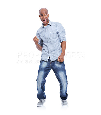 Buy stock photo A smiling african american man celebrating and cheering while isolated on white