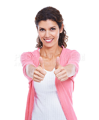 Buy stock photo Cropped view of a smiling brunette giving you thumb's up while isolated on white