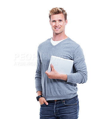 Buy stock photo A handsome blonde man holding his digital tablet while isolated on white