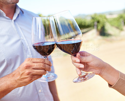 Buy stock photo Cropped view of a mature couple toasting each other with red wine