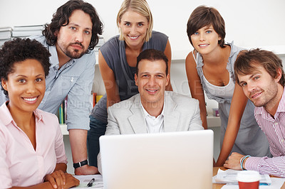 Buy stock photo Mature business man with his team smiling at meeting room