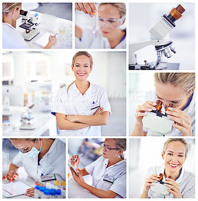 Buy stock photo Composite image of a woman working in a lab