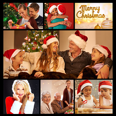 Buy stock photo Composite shot of people at christmas