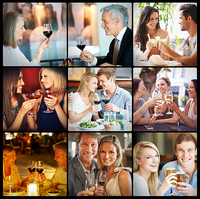 Buy stock photo Composite shot of a variety of people drinking alcohol