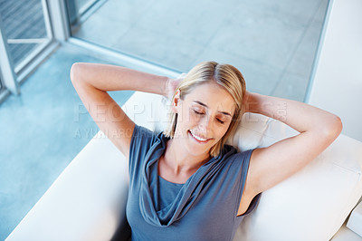 Buy stock photo Pretty woman on sofa smiling with eyes closed