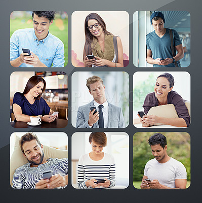 Buy stock photo Composite image of a variety of people text messaging