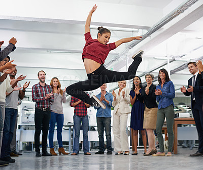 Buy stock photo Cropped shot of an office party with people dancing and having a good time