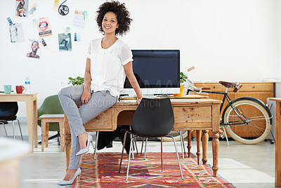 Buy stock photo Portrait of an attractive female designer in her modern office