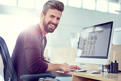 Buy stock photo Shot of a designer at work in an office