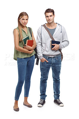 Buy stock photo Two young students holding their textbooks - isolated