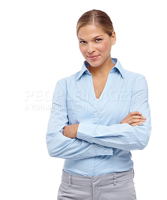 Buy stock photo Beautiful young blonde woman smiling at the camera with her arms folded - portrait