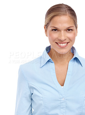 Buy stock photo Closeup of a lovely young blonde woman smiling at the camera - isolated