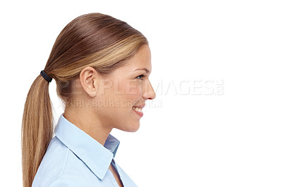 Buy stock photo Profile of a beautiful young blonde woman - copyspace