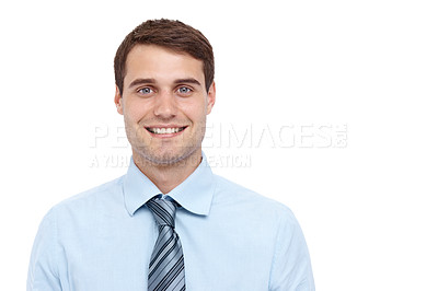 Buy stock photo Handsome young businessman smiling at the  camera - copyspace