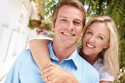 Buy stock photo Portrait of a mature couple smiling together happily