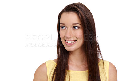Buy stock photo Beautiful young brunette smiling against a white background