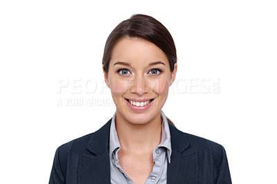 Buy stock photo Smiling young businesswoman against a white background