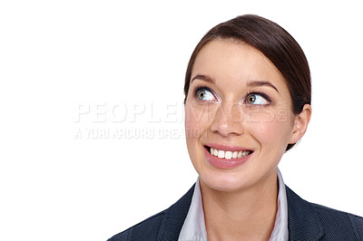 Buy stock photo Young businesswoman looking away with a smile against a white background