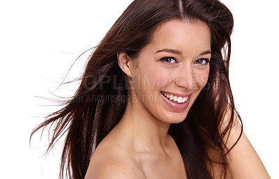 Buy stock photo A gorgeous young woman with an amazing smile isolated on a white background