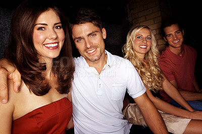 Buy stock photo A group of friends in a night club