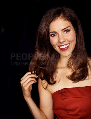 Buy stock photo Closeup portrait of an attractive brunette woman isolated on black