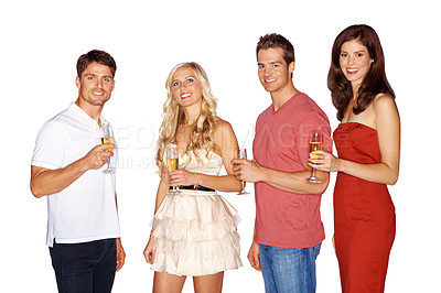 Buy stock photo Studio shot of a group of young people drinking champagne isolated on white