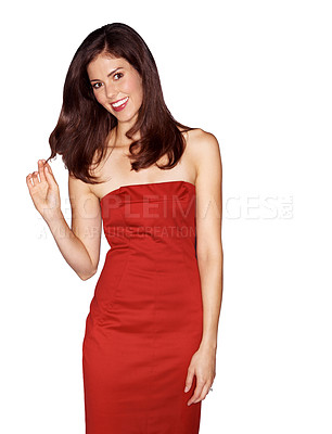 Buy stock photo Studio portrait of an attractive woman dressed in a red cocktail dress isolated on white