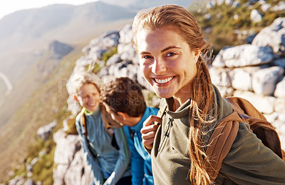 Buy stock photo Happy young friends together outdoors while on a hike