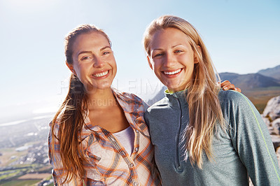 Buy stock photo Happy young friends standing outdoors while on a hike