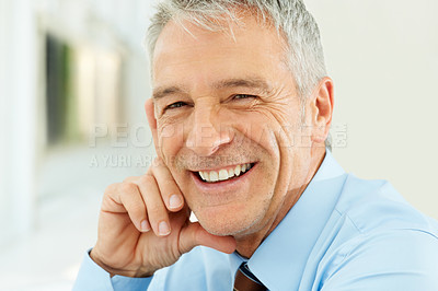 Buy stock photo Closeup portrait of smiling middle aged businessman in office