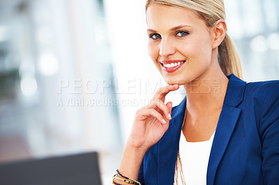 Buy stock photo A gorgeous blonde businessman smiling at the camera