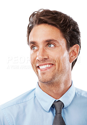 Buy stock photo Closeup of a smiling young businessman