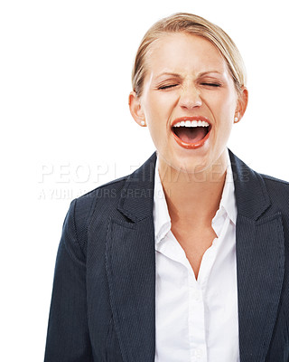 Buy stock photo A young businesswoman screaming against white