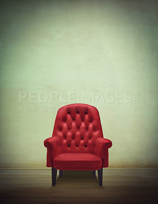 Buy stock photo Shot of a red chair in an otherwse empty room