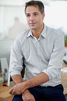 Buy stock photo Portrait of a mature businessman sitting on his desk