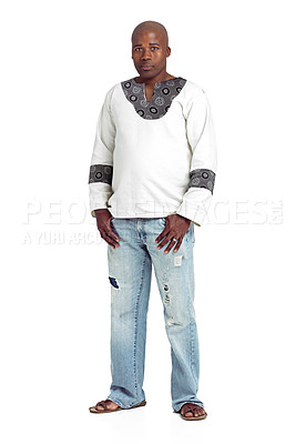 Buy stock photo Full length studio shot of an african man standing against a white background