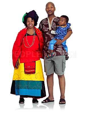 Buy stock photo A black family isolated on white