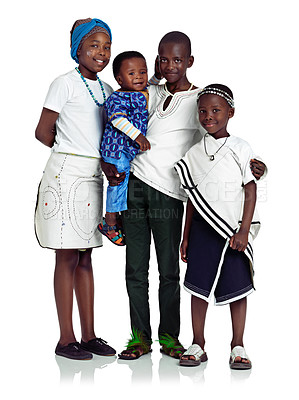 Buy stock photo African siblings against white background