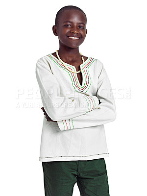 Buy stock photo Studio portrait of a young african teenage boy isolated on white
