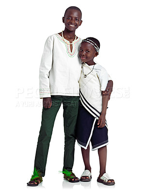 Buy stock photo Studio shot of two affectionate african siblings against a white background
