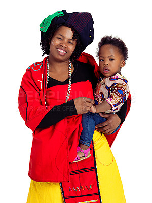 Buy stock photo Studio shot of an african woman and her baby daughter, isolated on white