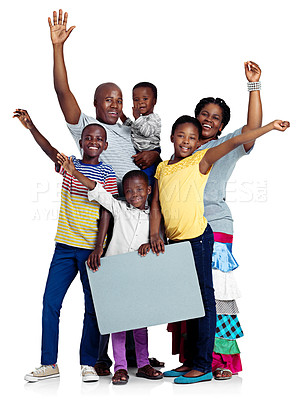 Buy stock photo Studio shot of an african family waving happily, isolated on white