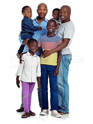 Buy stock photo Studio shot of two african men with their kids against a white background