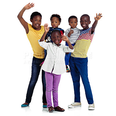 Buy stock photo Studio shot of african children waving against a white background